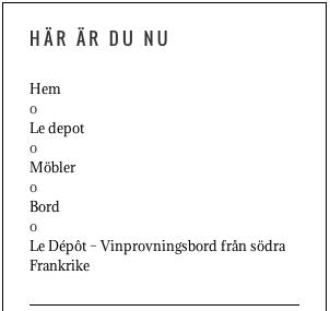 Webbplatsens brödsmulor - det Franska Testamentet, inredningsbutik i Stockholm