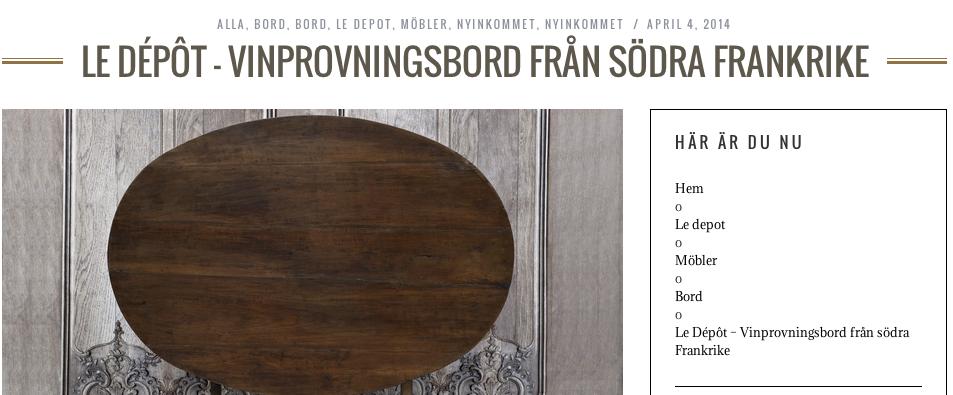 Produktsida webbplats - Franska Testamentet, inredningsbutik, Stockholm