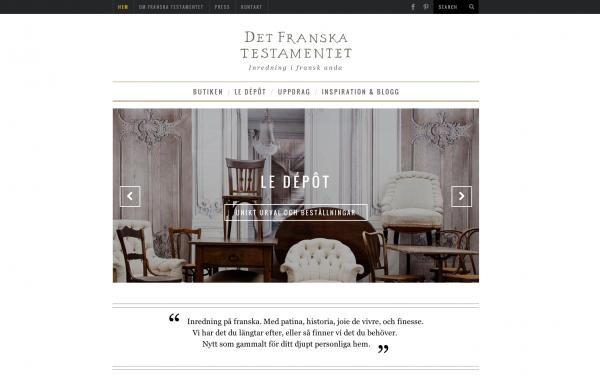 Webbplats Franska Testamentet, inredningsbutik i Stockholm
